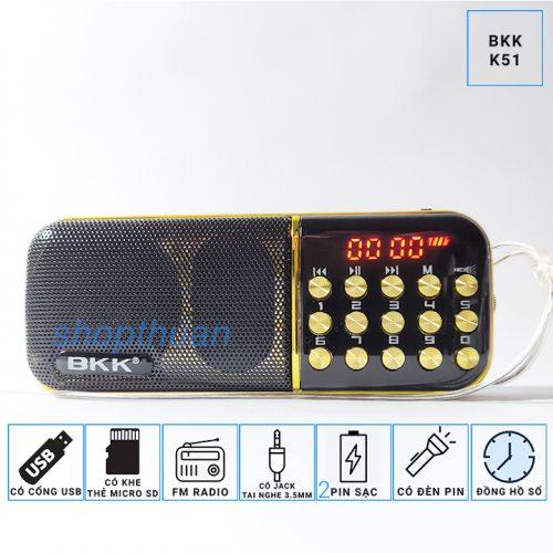 Loa BKK K51 Có 2 Pin - Có Đèn Pin Nghe Thẻ Nhớ USB FM