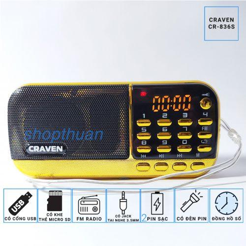 Loa Craven CR-836s 2 Pin – Có Đèn Pin Nghe Thẻ Nhớ USB