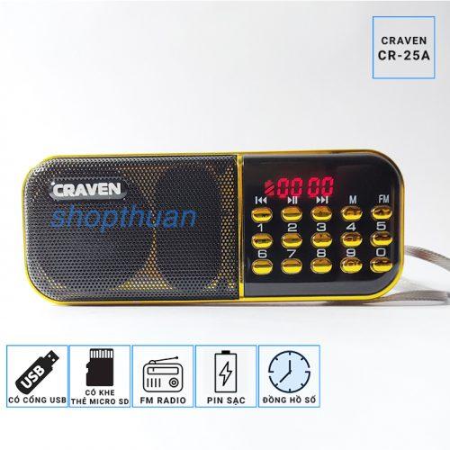 Loa Craven CR-25A - 1 Pin - Thẻ Nhớ - USB - FM