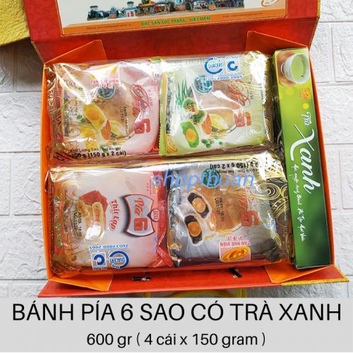 Bánh Pía 6 Sao Có Hộp Trà Xanh - 600 gr ( 4 cái x 150 gr)