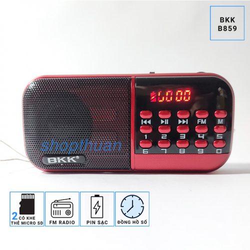 Loa BKK B859 Có 2 Pin Sạc - 2 Khe Thẻ Nhớ - Nghe FM Radio