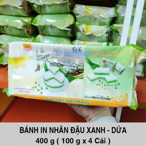 Bánh In Nhân Đậu Xanh - Dứa 400 Gram ( 4 Cái ) - Loại Tròn