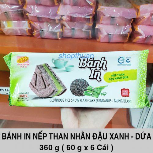 Bánh In Nếp Than Đậu Xanh - Dứa 360 Gram ( 6 Cái )