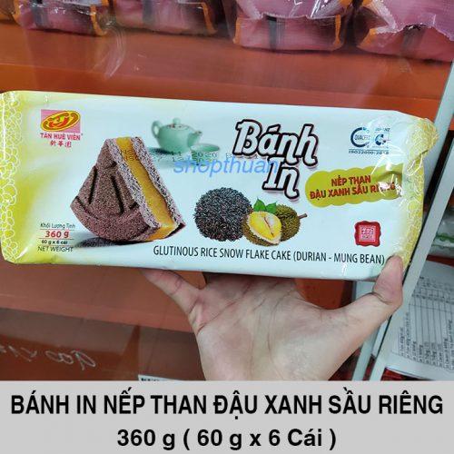Bánh In Nếp Than Đậu Xanh Sầu Riêng 360 Gram ( 6 Cái )