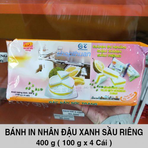 Bánh In Nhân Đậu Xanh Sầu Riêng 400 Gram ( 4 Cái ) - Loại Tròn