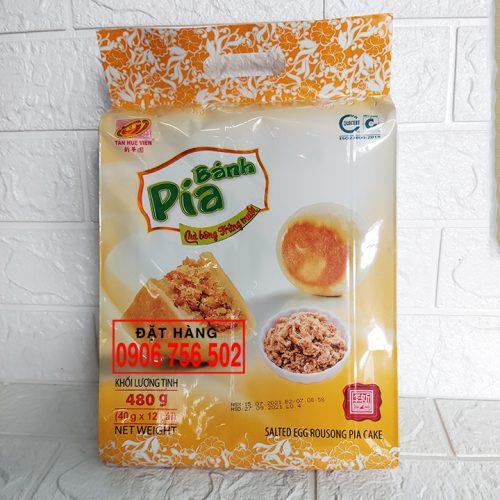 Bánh pía chà bông trứng muối 480 gr ( 12 cái x 40 gr ) - Tân Huê Viên